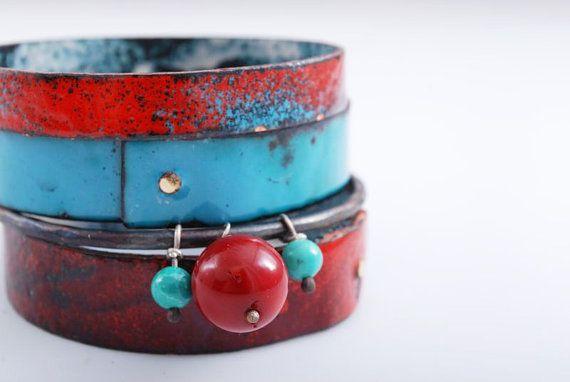 RED & SAPPHIRE  enameled bracelets  hand made  gift by OYRZANOWSKA