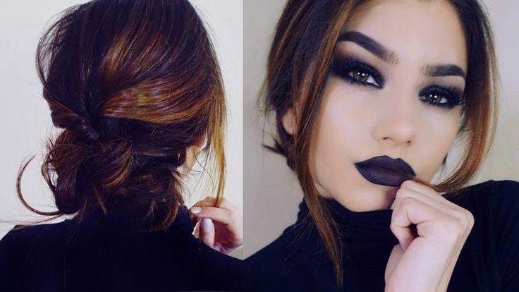 Full Coverage GOTH Makeup Tutorial! + Short Hair Braid Bun Updo!