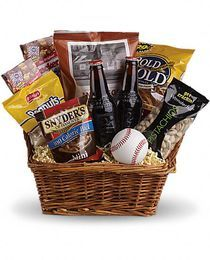 Take Me Out To The Ballgame - The Perfect Gift Basket for Father's Day!  Peanuts, Cracker Jacks, Pistachios, Peanuts, Pretzels, Root beer make up this fun summer gift basket!  http://www.veldkampsflowers.com/product.cfm/iteID/2661
