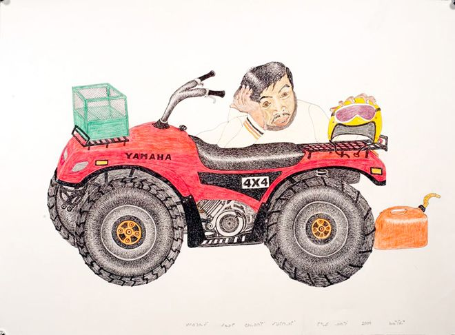 Kananginak Pootoogook at the 57th Venice Biennale. He thinks he has run out of gas, but the engine is shot, 2009. Ink and coloured pencil on paper, 55.88cm x 76.2cm