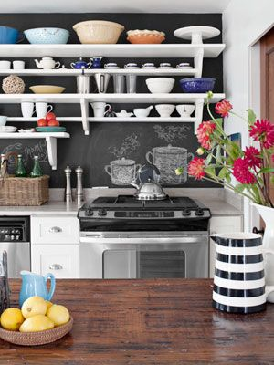 wood counter tops, open shelving, chalkboard wall, pops of color: Kitchens Design, Open Shelves, Chalkboards Paintings, Kitchens Ideas, Chalk Boards, Open Kitchens, White Shelves, Chalkboards Backsplash, Chalkboards Wall