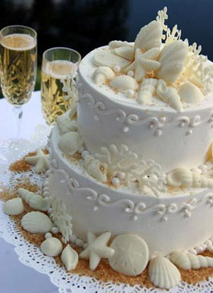 White chocolate shells- there is an idea for a seaside wedding cake topper!