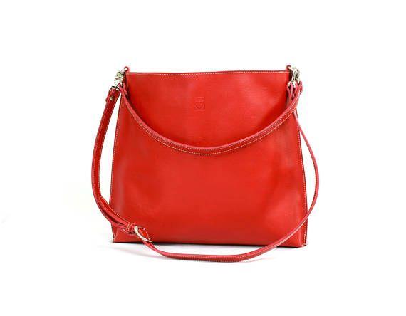 Red LEATHER SHOULDER BAG/Full grain leather tote bag/Crossbody