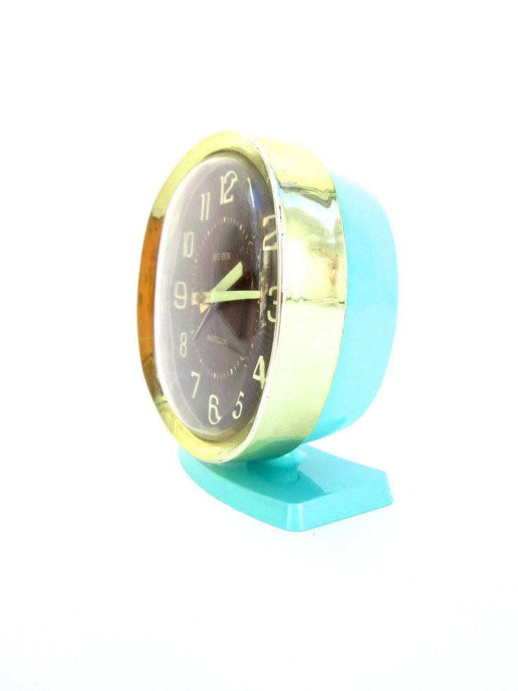 Mid-Century Turquoise Metal Big Ben Deluxe Alarm Clock || Made by Westclox in U.S.A. by ELECTRICmarigold on Etsy