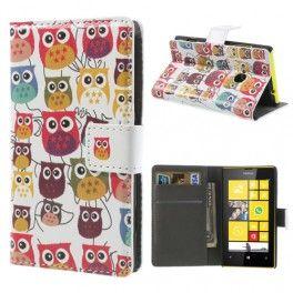 Lumia 520 värikkäät pöllöt lompakkokotelo.