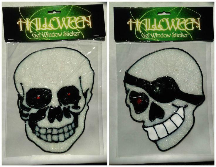 Halloween Gel Window Stickers Skull & Skull with Eyepatch