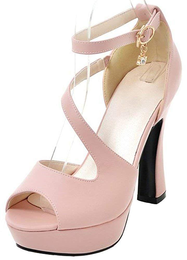 c3ae3f9d065 Mofri Women s Dressy Ankle Strap Sandals - Peep Toe Pendant Strappy -  Buckle Platform Chunky High
