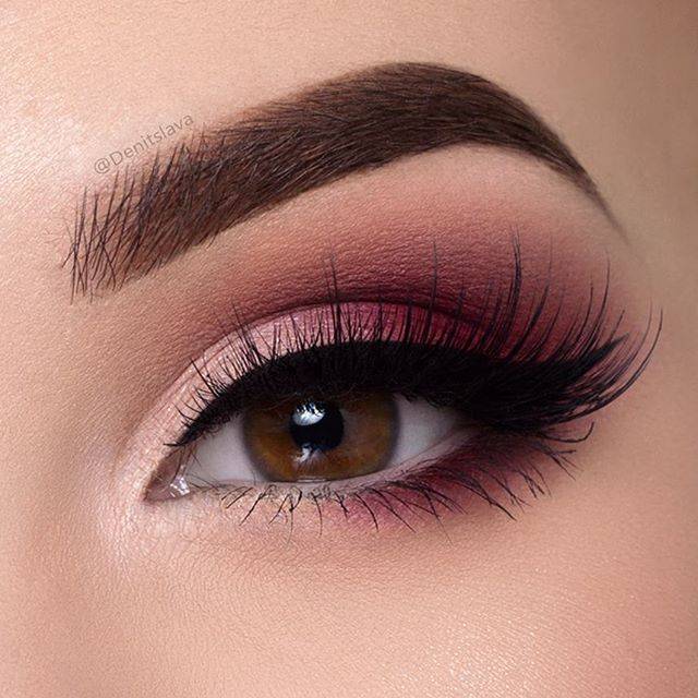 "Burgundy smokey eye  Tutorial on it is on my YouTube channel  Hit the link in my instagram bio to watch it  Products used: @sigmabeauty gel eyeliner (wicked) Use discount code""denitslava"" for 10 off ALL @sigmabeauty products @anastasiabeverlyhills eyeshadows (fresh,burnt Orange) & dipbrow pomade in medium brown @meltcosmetics love sick stack (love sick) @lapaigetrends lashes in the style Rosie"