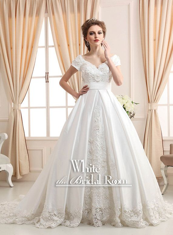 Ball Gown Wedding Dresses With Short Sleeves : Princess modest wedding gown dress satin lace short
