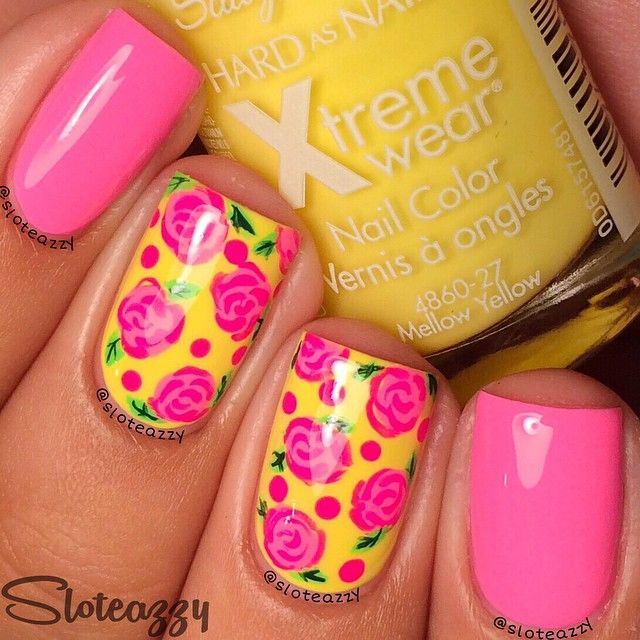 Girly #floral #manicure with combination of pink and yellow colors ===== Check out my Etsy store for some nail art supplies https://www.etsy.com/shop/LaPalomaBoutique