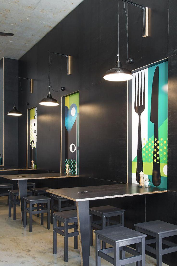 """Mur noir et """"tableaux"""" colorés - une idée à décliner pour chez soi.  #Black #wall #colours Bar Testoni, Sydney"""