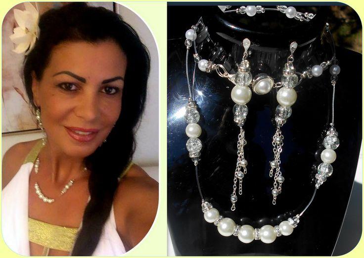 Parure mariée perles nacrées blanche : Parure par camelys-bijoux