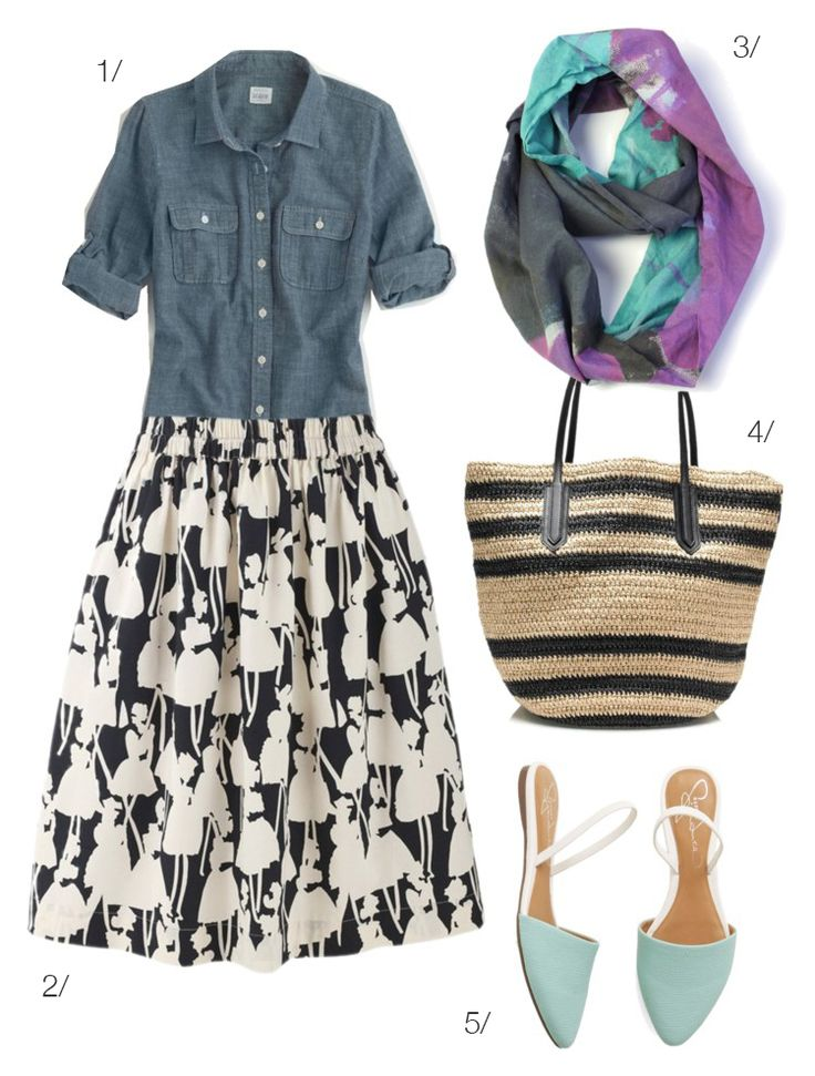 patterned skirt and chambray shirt with colorful lightweight scarf by megan auman // click for outfit details