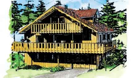 This wonderful chalet style home features plenty of deck for Swiss chalet house plans