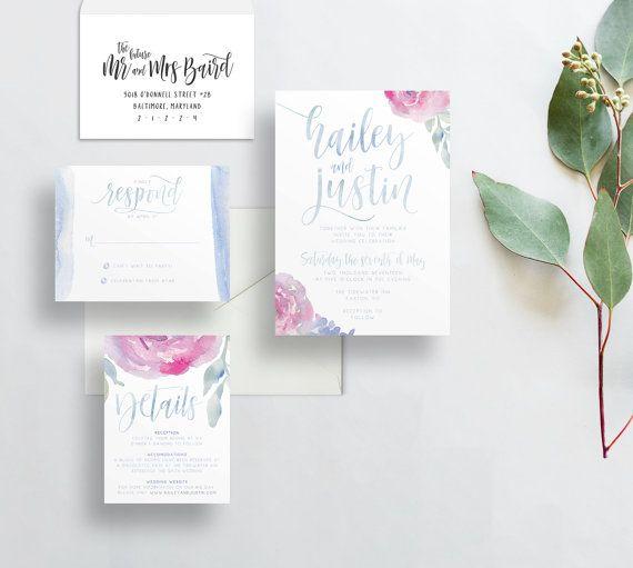 invitaciones de boda floral suave / bígaro azul rosa invitaciones acuarela / / caligrafía / cepillo Letras / IMPRESO personalizado invita