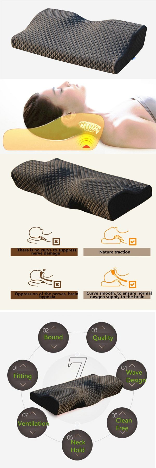 Memory Foam Pillow Cervical Spondylosis Neck Pain Relief Slow Rebound Massager Massage