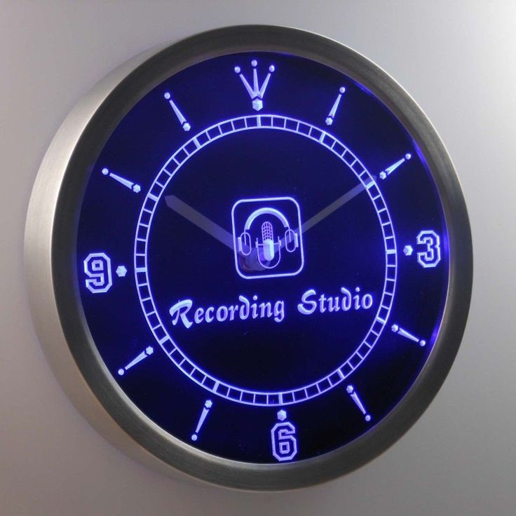 Nice Nc B Recording Studio Microphone Bar Neon Sign Led Wall Clock
