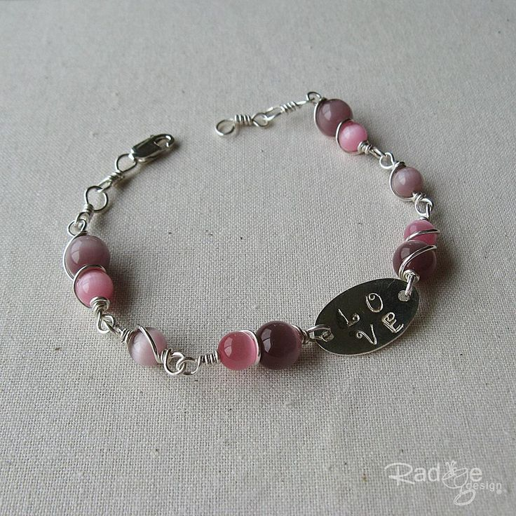 "Very pretty lilac bracelet with handstamped ""Love"" oval disc from Radge Design for $120."