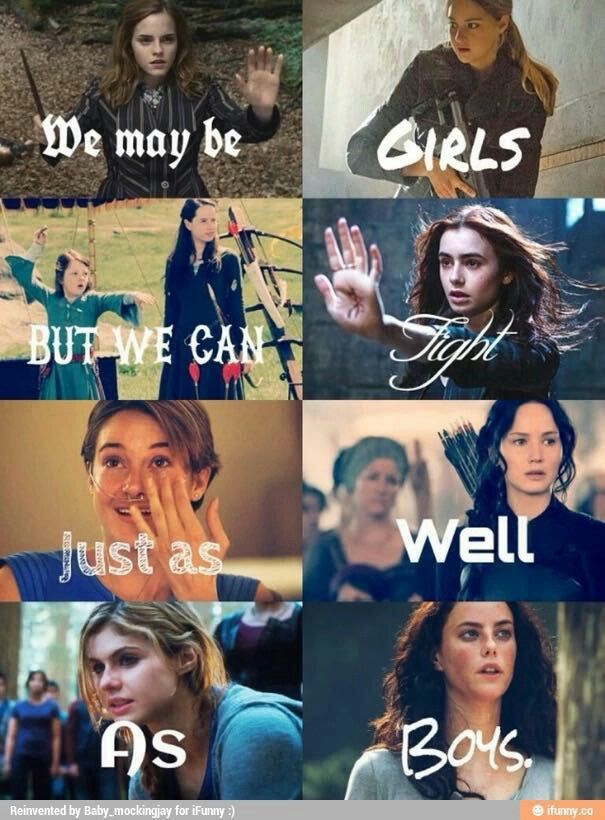 Hermione, Tris, Lucy, Susan, Clary, Hazel, Katniss, Annabeth, Teresa from Harry Potter, Divergent, Narnia, Mortal Instruments, The fault in our stars, Hunger Games, Percy Jackson, Maze Runner