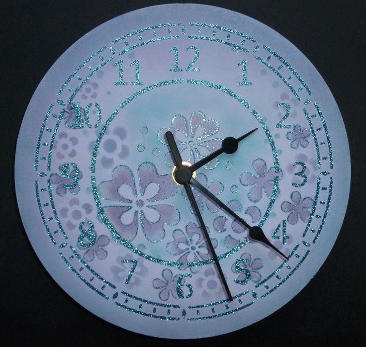 Large MDF Petal Crescent clock. - Imagination Craft's - Blue sapphire Sparkle Medium. MDF clock kit + mechanism. Large 'Petal Crescent' stencil. Chalk MDF paint. Chalkies - cornflower.  T.H. Distress inks.