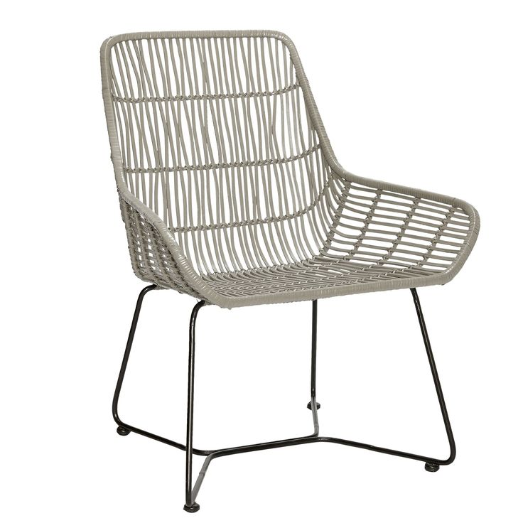 Chaise en rotin gris et pieds m tal hubsch outdoor for Chaise rotin tresse gris