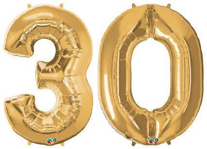 "30th BIRTHDAY BALLOON 34"" HIGH METALLIC GOLD NUMBER SHAPE FOIL BALLOONS"