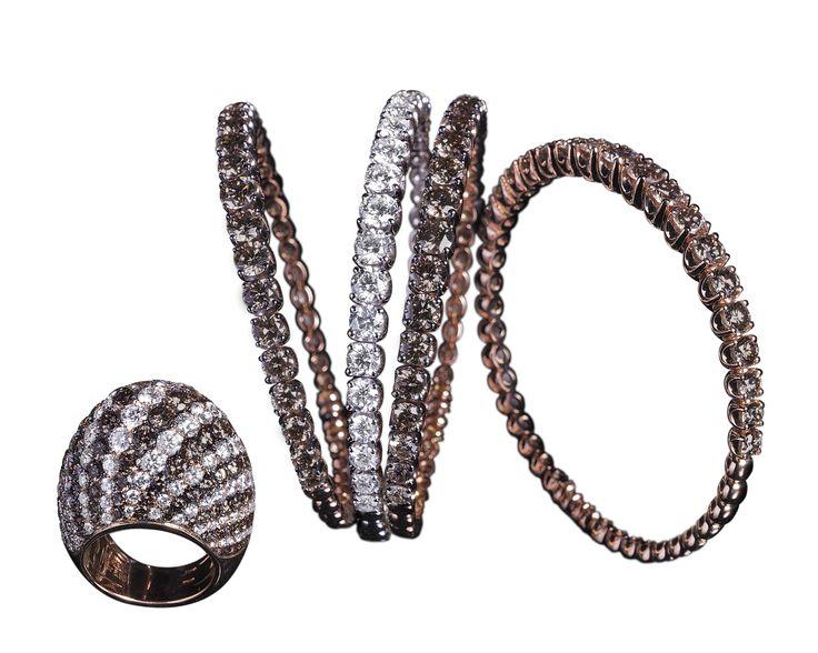 #Bracciali in #oro bianco o rosa con #diamanti e diamanti fancy color di Crivelli; disponibili da Bortolin Gioielli: http://www.bortolingioielli.it/prodotti/