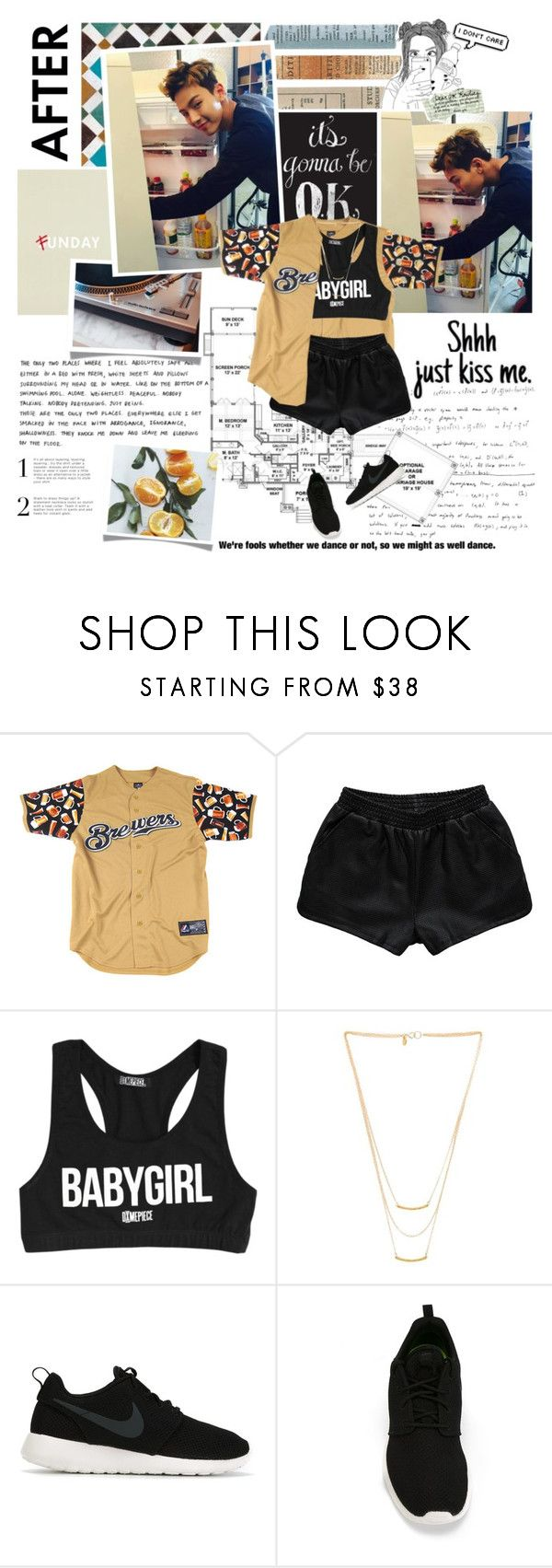 """""""Yeah I want you by my side"""" by followmiiin ❤ liked on Polyvore featuring Rebecca Stella For Nelly, Dimepiece, Gorjana, Dorothy Perkins, NIKE, dance, kpop, monstax and shownu"""