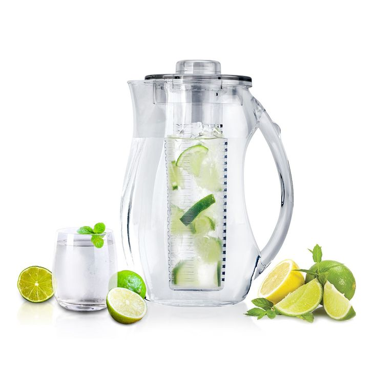 Now you can use fresh, natural ingredients to create your own personalized fruity, flavored drinks with this acrylic water pitcher with fruit infuser.