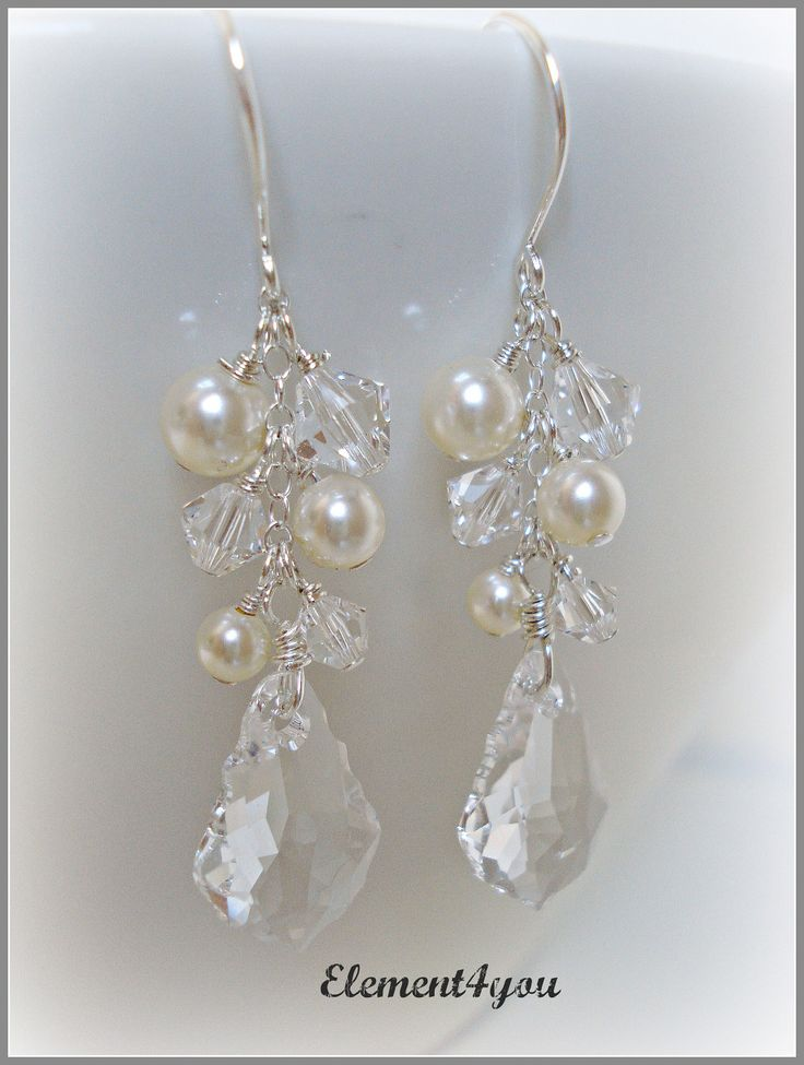 Bridal Earrings, Swarovski Baroque Clear Crystal pendant, Ivory or White pearls, Long cluster Drop, Wedding jewelry, Beach Statement piece. $28.00, via Etsy.