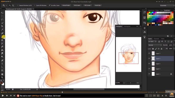 Desenho MESA DIGITALIZADORA - OneByWacom (PHOTOSHOP) #drawning #speedart #bluehair #oc #photoshop #digitalpaint #onebywacom #wacom #anime #ilustração