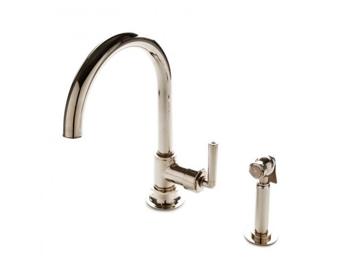Henry One Hole Gooseneck Kitchen Faucet, Metal Lever Handle and Spray: Remodelista