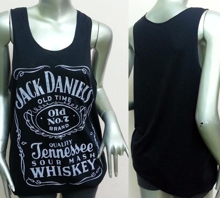 Jack Daniels Tennessee Whiskey Old Time Tank Top vest shirt ladie T-Shirt Women shirt Sexy teen screen Rock Punk classic Black Q101Size M L. $12.00, via Etsy.