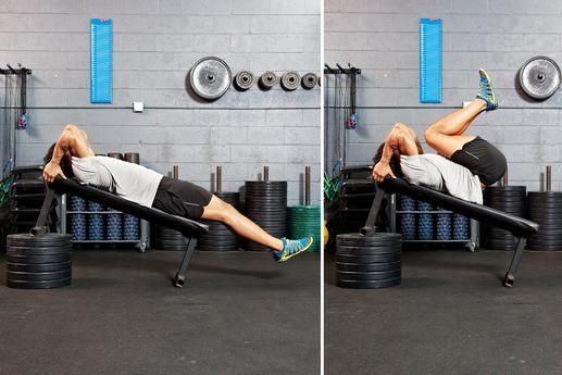 Incline Reverse Crunch- HOW TO DO IT: Lie faceup on an incline bench with your hips lower than your head, your body forming a straight line from head to heels. Grab the bar behind your head for support or grasp the sides of the bench. Lift your knees toward your chest. Slowly lower your feet toward the floor and repeat.