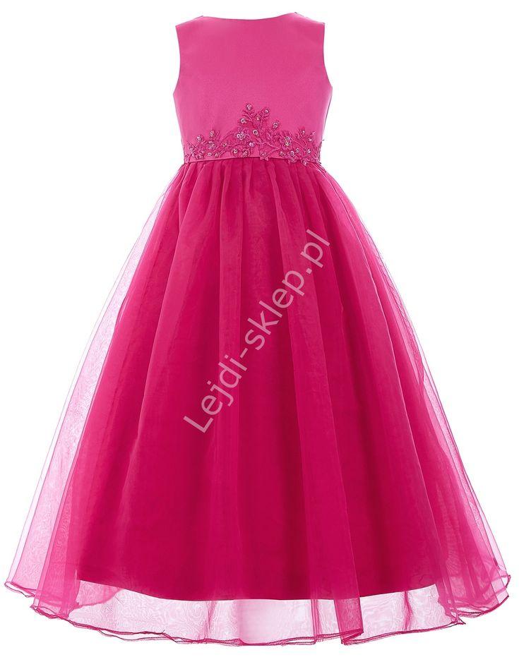 Różowa sukienka w odcieniu fuksja zdobiona koronka dla dziewczynki   sukienki na…