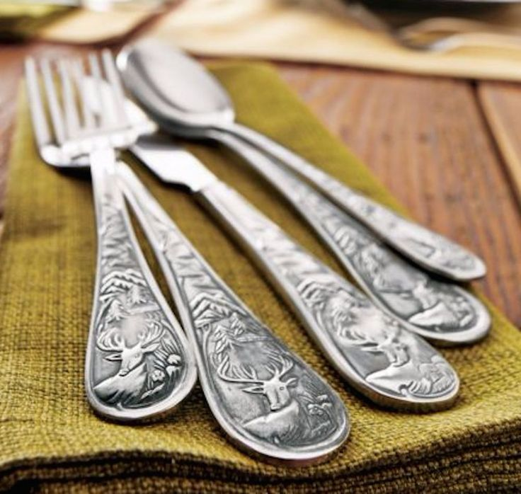 Silverware Set 4 Rustic Stag Lodge Flatware Heavy Duty Hunters Simple Life NICE #Unbranded