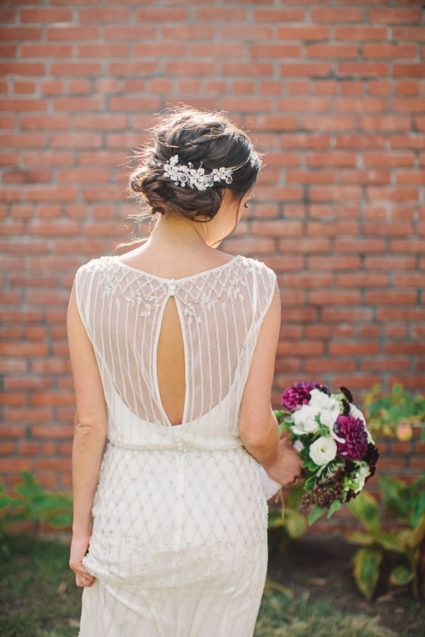 Vintage 1930s Inspired beaded low back wedding dress