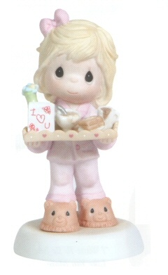 Precious Moments I Love You For All You Do - Girl A perfect Precious Moments for Mother's Day. Features a girl bringing Mom breakfast in bed. Figurine is made of porcelain. $35.00 #PreciousMoments #MothersDay #Mom #Family