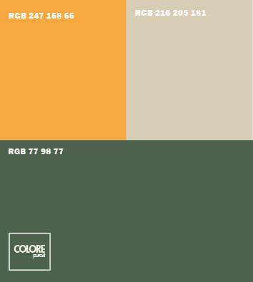 Abbinamento colori verde arancione    grigio