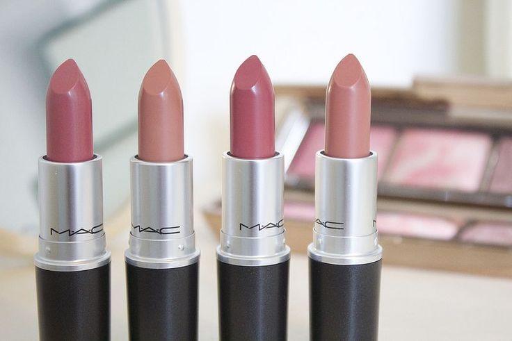MAC Lipsticks in Brave, Honey Love, Twig, Velvet Teddy