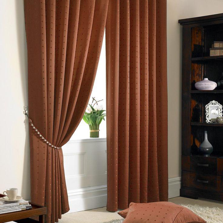 Jacquard Pencil Pleat Curtains, Burnt Orange – PASX UK