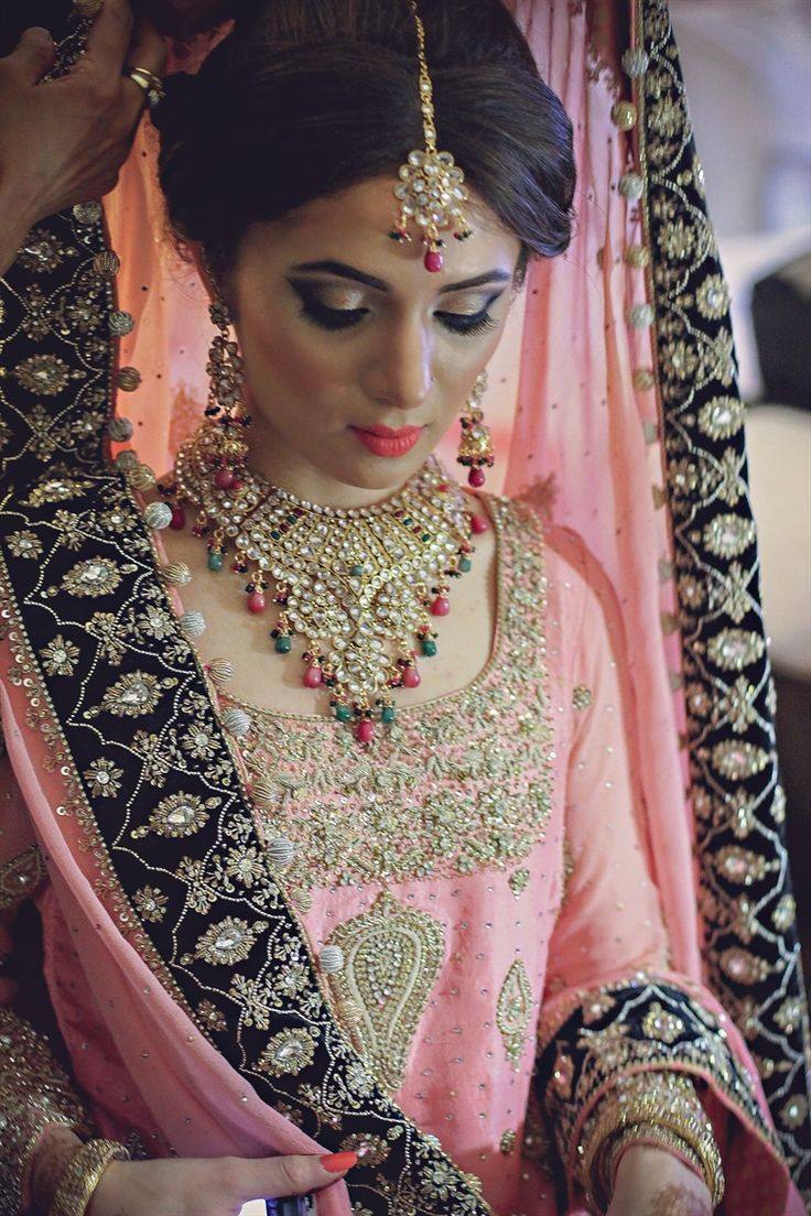 Pakistani bride - the pink and black wedding dress is beautiful