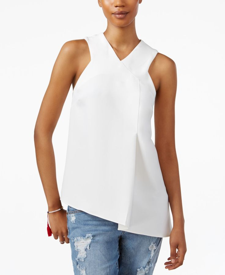 Ultra-chic and flattering, this racerback blouse from Rachel Rachel Roy is casual perfection! | Polyester | Machine washable | Imported | V-neckline | Front zipper closure | Sleeveless | Racerback des