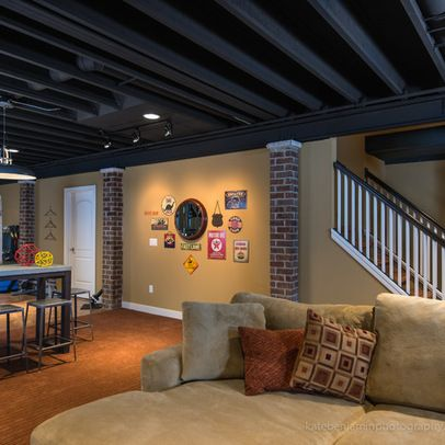 Best 25 basement remodeling ideas on pinterest basement for Exposed ceiling design