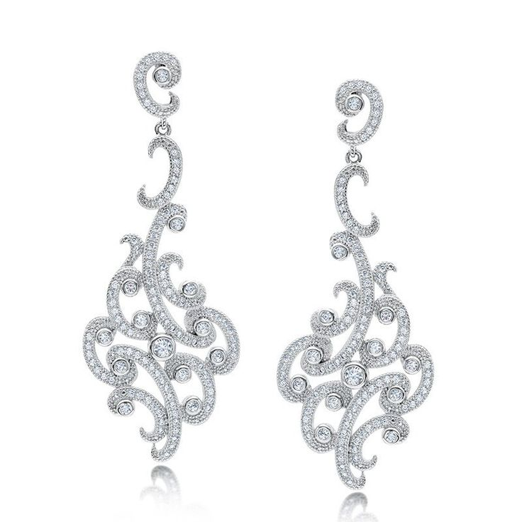 Floral design drop earring and simulated diamonds by swarovski.  ZE-0204