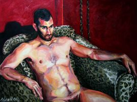 Luke II - Original art painting of nude male figure in oil on stretched canvas for sale online at StateoftheART Gallery