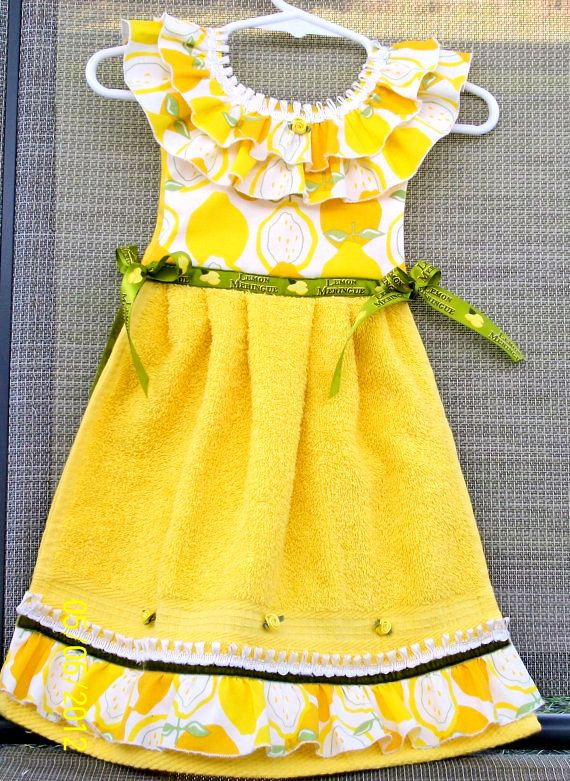 Lemon Hanging Kitchen Towel Yellow Hand Towel by TowelswithaTwist