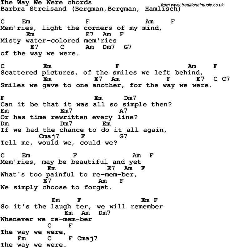Song Lyrics with guitar chords for The Way We Were - Barbra Streisand : Guitar chordu0026#39;s ...