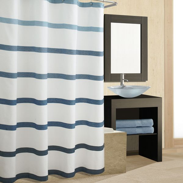 Excell Waffle Bands Blue Shower Curtain