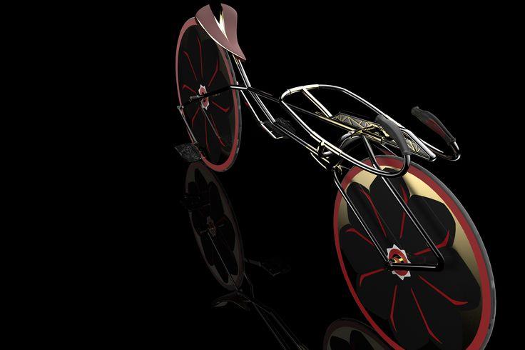 super bike cycle disc wheel black golden red sakura blossom flower speed